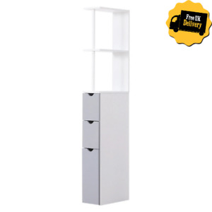 Tall Corner Bathroom Cabinet Slim Space Saving Wooden Storage Drawers Grey White
