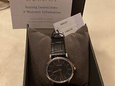 NWT Bulova 98A167 Black Dial Black Leather Strap Men's Watch