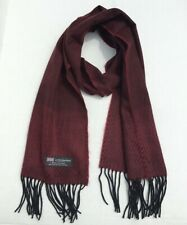 New listing Men's 100% Cashmere Scarf Herring Bone Tweed Wine Black Scotland Wool Wrap Soft