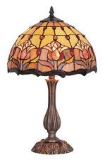 Red Tulip Lamp, Table Lamp, Leadlight 48cm.
