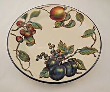 Pier One Macintosh Fruit with Blue Trim Dinner Plates Made in England