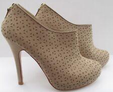 Faith Size 6 /39 Shoe BOOTS Laser Cut Caser Natural Beige Worn Once