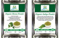 ORGANIC CERTIFIED Pure 100g Henna + 100g Indigo powders Natural Henna For Hair