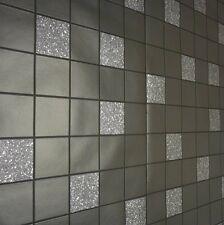 Charcoal, Black & Silver Modern Kitchen Bathroom Tile Wallpaper - Blown Vinyl