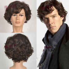 Newest Sherlock Holmes Brown short Curly Cosplay wig for men + free wig cap