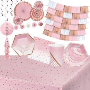 Rose Pink and Gold Party Supplies Tableware, Decorations & Balloons