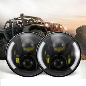 7'' Inch LED Headlights For Jeep Wrangler Custom Sport JK JL TJ LJ CJ Land Rover