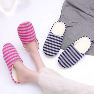 Striped Women Slipper Bottom Soft Home Warm Cotton Slip-On Bedroom Shoes x1SET