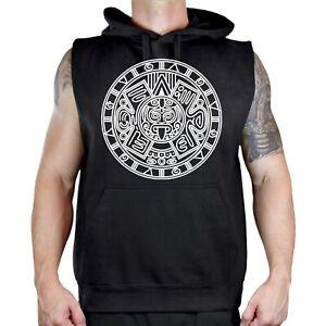 Men's BW Mayan Calendar Black Sleeveless Vest Hoodie Aztec Tribal Mexico Symbol