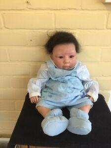 "20"" REALISTIC REBORN BABY BOY  DOLL  SILICONE  VINYL, COTTON BODY  BLACK HAIR"