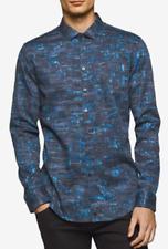 Calvin Klein Men's Slim-Fit Spatter Print Cotton Shirt, Cadel Navy, Size XXL,$79