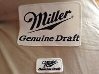 "Miller Genuine Draft Beer Patches 5 3/4"" X 8 1/4"" & a smaller one"