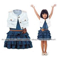 3PCS Baby Sets Infant Girls Outfits Vest + Denim Dress + Belt Kids Skirt Clothes