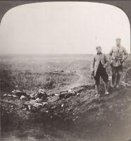 WW1 Arras, France. Burying German Dead on the Battlefield near Arras. Stereoview