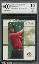 2001 Sp Authentic Preview Golf #51 Tiger Woods RC Rookie BCCG 10