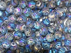 Electroplated Chevron Cut 'Rainbow Ocean' 10mm Glass Bead