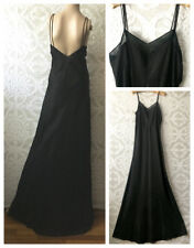 "Vtg 1930s-40s Long Black Bias Cut Night Gown Dress | Low Back | 32"" W | Tall"