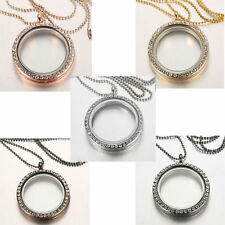 Crystal Glass Round Glass Charms Locket Pendant Living Memory Floating Necklace