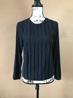 EUC Alice + Olivia Black Silk Pleated Long Sleeve Blouse Shirt Top Size XS