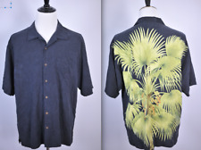 Tommy Bahama Silk Camp Shirt Black Green Tropical Men's XL