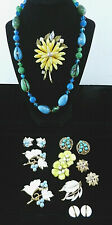 ENAMELED Metal JEWELRY LOT Flowers Leaves 10 Pcs Weiss Trifari Sarah   T69:6
