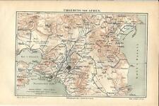 Carta geografica antica ATENE Grecia ATHENS Greece 1890 Old antique map