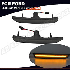 2pcs Amber LED Front Bumper Side Marker Light For Ford Mustang 2010-2014 Smoked