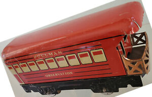 "Marx Red Tin Lithograph 6"" 4w Observation Car Embossed Windows Door Grabs 1940"