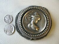 Antique Art Nouveau Silver Woman Crochet Steel Bead Tam O Shanter Coin Purse #3