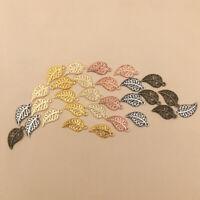 50/100Pcs Hollow Leaf Pendant Necklace Earrings Choker Bracelet Jewelry Making