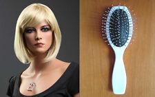 Ladies Short Blonde Wig Bob Style Light Blonde Side Fringe Fashion Wig + BRUSH!