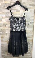 Karen Millen Ladies Size 10 Floral Strappy Silk Polyester Black Dress