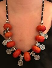 Very Cute African Moroccan Berber  Necklace With Amber Resin Beads  NEW