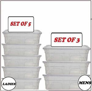 11L & 5L PLASTIC CLEAR SHOE BOXES ORGANIZER FOR LADIES/MEN STACKABLE STORAGE