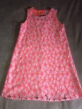 The Children's Place Neon Orange Floral Lace Shift Dress Size L 10-12