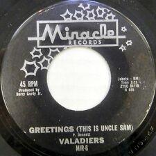 """THE VALADIERS""""~GREETINGS (UNCLE SAM) U.S. ORIG. 1962 MOTOWN-MIRACLE~""""VG+""""~ 45!!!"""