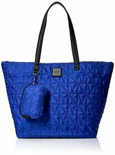 NEW NICOLE LEE AZURE BLUE+BLACK QUILTED CANVAS SHOULDER BAG,TOTE+POUCH