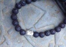 "UK Mens Ladies Black Lava Stone/Rock Beads Silver Buddha 8"" Bracelet.Gemstone"