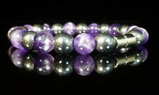 Amethyst Hematite Bracelet Therapeutic Gemstone Magnetic Clasp