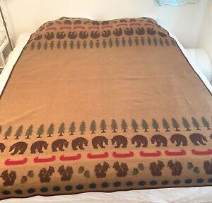 """Vintage Pendelton Wool Cotton Blanket Bears Squirrels Canoes 68X84"""" Reversible"""