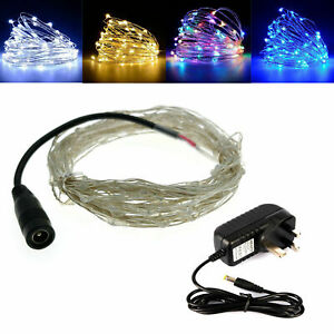 DC12V 10m LED Micro Wire Copper Fairy String Christmas Lights Party + UK adapter