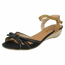 SALE LADIES ANNE MICHELLE BOW TRIM CASUAL LOW WEDGE ANKLE STRAP SANDALS L3409