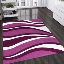 Wohnzimmer Teppich Lila Pink Weiss Kurzflor Teppiche Wellen Muster Pflegeleicht