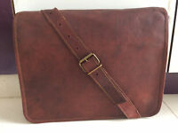 "18"" Vintage Bull Leather Tote Men's Briefcase Laptop Case Messenger Shoulder Bag"