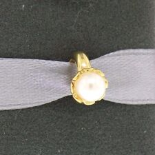 New Endless White Pearl Flower 18K Gold Plated Sterling Silver Charm 51252-1