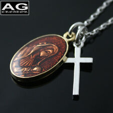 """Mini cross coin maria pendant with 20"""" chain necklace US SELLER"""