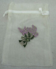 """12 Ivory 4x6"""" Organza with Lavender plant on front Drawstring Wedding Favor Bags"""