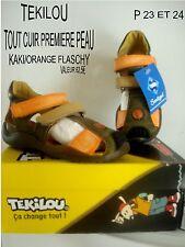 CHAUSSURE DE MARQUE *TEKILOU* TOUT CUIR KAKI/ ORANGE P23 VALEUR 62,5€ NEUVE