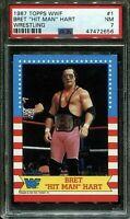 1987 TOPPS WWF #1 BRET THE HIT MAN HART HOF PSA 7 NM WWE CARD VINTAGE LOW POP 📈