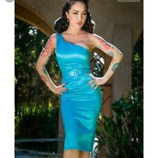 BNWT PinUp Girl Clothing Couture Vivien Dress in blue - S 6 8 VLV - satin wiggle